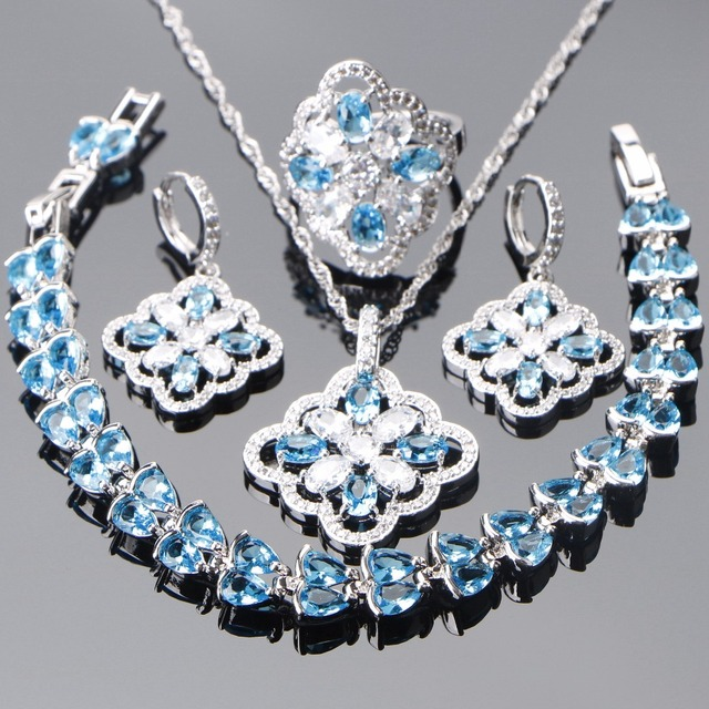 Bridal 925 Sterling Silver Jewelry Sets Blue Zircon