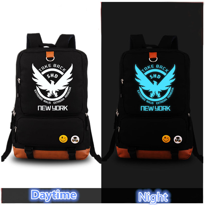 Game The Division SHD Take Back New York SHD Blue Luminous Laptop Printing Backpack Canvas Bag School Men Women Rugzak MochilaGame The Division SHD Take Back New York SHD Blue Luminous Laptop Printing Backpack Canvas Bag School Men Women Rugzak Mochila