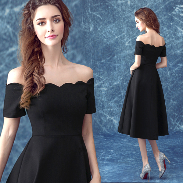 Sexy Black Off the Shoulder   Prom     Dresses   with Short Sleeves Tea-Length with Zip Back Homecoming Party Gowns vestido de festa
