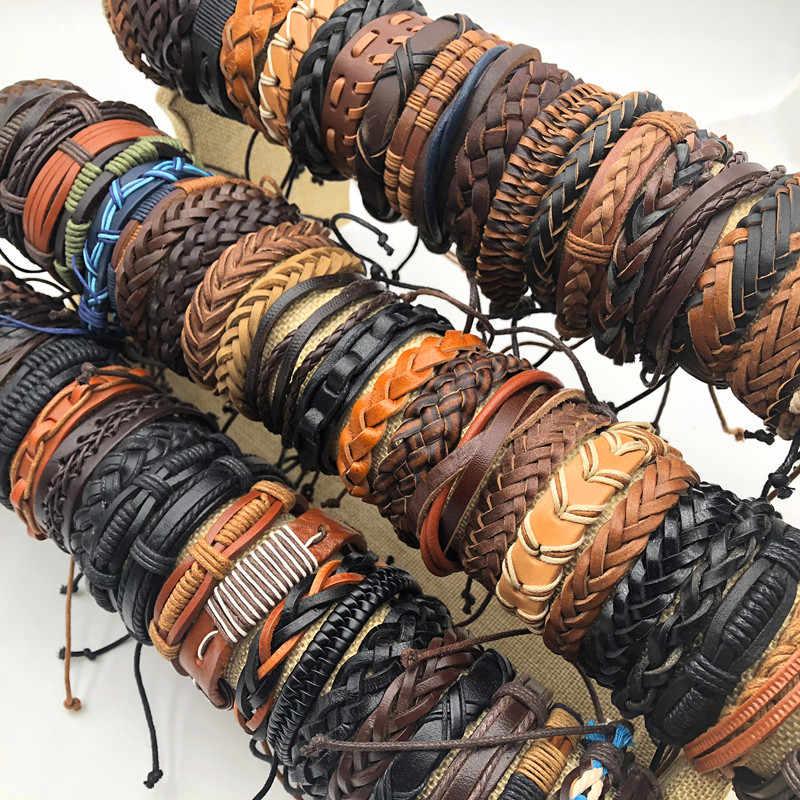 اليدوية 50 قطعة/السلع الأسود البني القهوة رجل إمرأة خمر جلدية سيرفر المعصم صفعة أساور مجوهرات (حجم قابل للتعديل)