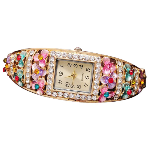 YCYS!Fashion Crystal Flower Watches For Women Dress Watch Quartz Gold Plated Wristwatches Colorful