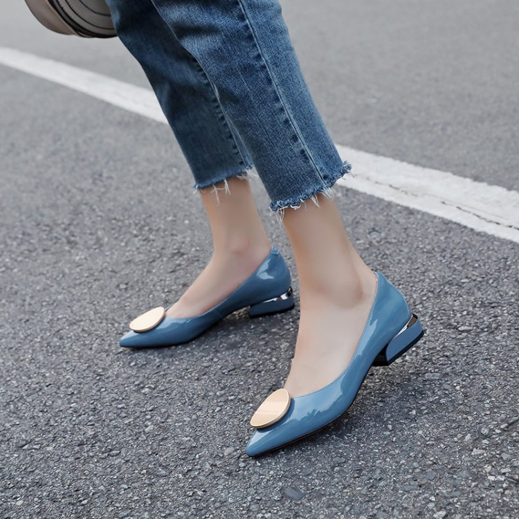MLJUESE 2019 women pumps Soft Cow leather autumn spring metal decoration blue color pointed toe low