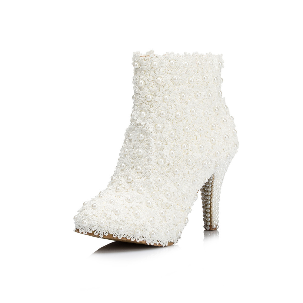Lace Wedding Boot Pearl Bridal Princess White Flower Single Ultra