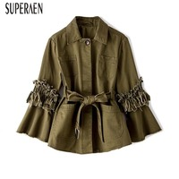 SuperAen 2018 Autumn New Long Sleeves Cotton Women Jacket Solid Color Casual Ladies Coats Fashion Loose