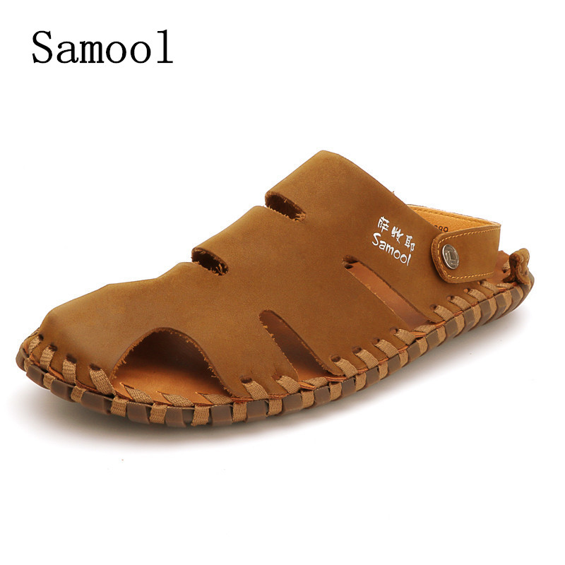 все цены на Fashion Soft Men Sandals Leisure Summer Shoes Comfortable Men Beach Shoes buckle strap Men Sandals Leather Handmade High Quality онлайн