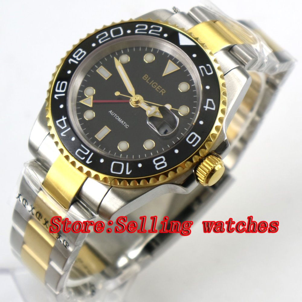 Newest 40mm Bliger black Dial ceramic bezel GMT Luminous Hands Sapphire Glass Automatic Movement Mens Mechanical WristwatchesNewest 40mm Bliger black Dial ceramic bezel GMT Luminous Hands Sapphire Glass Automatic Movement Mens Mechanical Wristwatches
