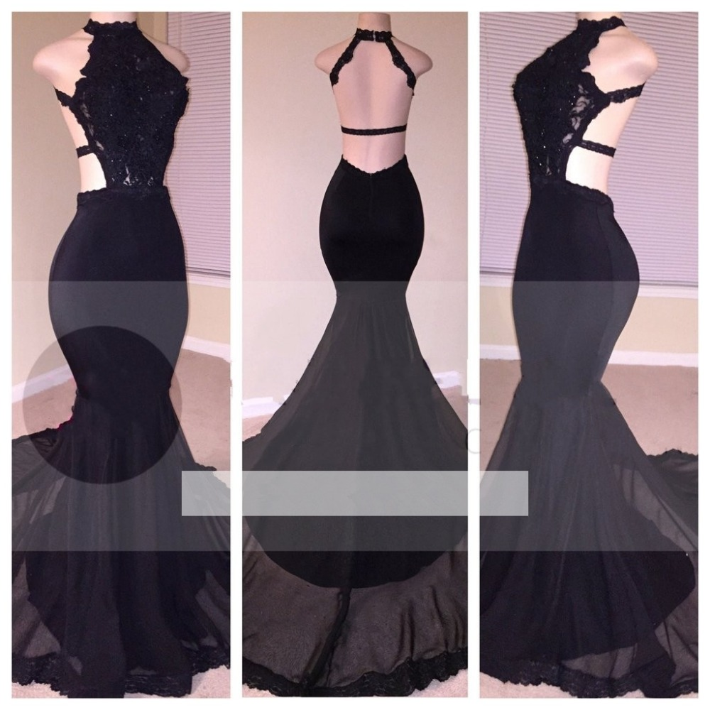 Black 2019   Prom     Dresses   Mermaid Halter Appliques Beaded Lace Backless Party Maxys Long   Prom   Gown Evening   Dresses   Robe De Soiree