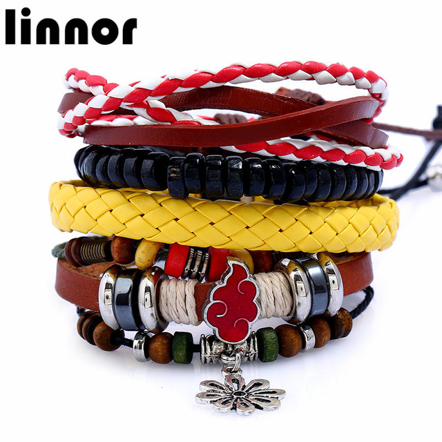 Hot Anime Naruto Handmade Set Bracelet For Male Best Friend Gift