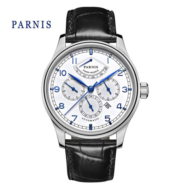 Casual 43mm Parnis Automatic Power Reserve White Dial Blue Numbers Black Genuine Leather Watch Band Business Watches Men