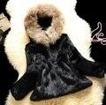 O Envio gratuito de Genuína Pele De Coelho mulheres Casaco de pele cheia de pele de coelho com chapéu de pele jaqueta livre personalizado plus size qualquer cor J811