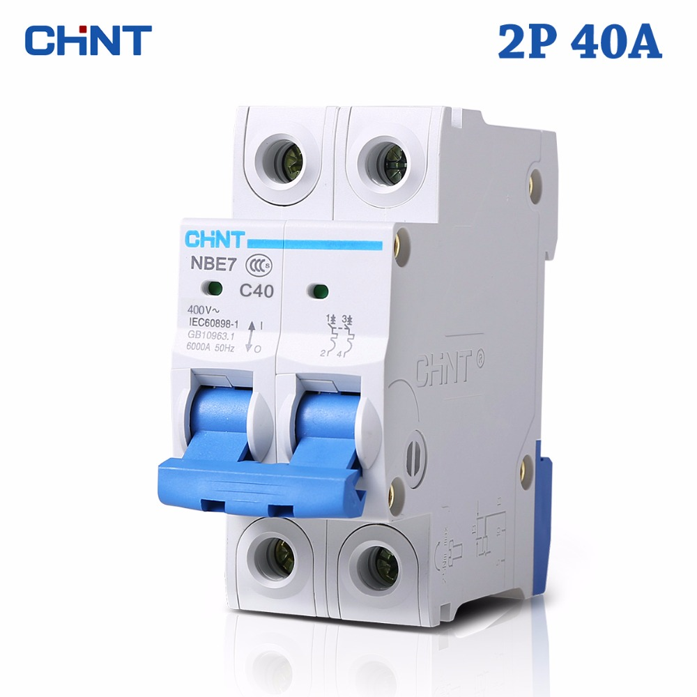 HOT SALE 2P 40A 230V 50HZ Mini Circuit Breaker MCB C40 C-type 36mm Overload And Short Circuit Protection Household Switch Choppe