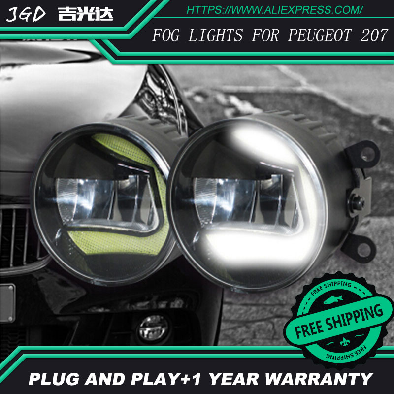 Free Shipping Fog light For Peugeot 207 LR2 2006-2014 Car styling front bumper LED fog Lights high brightness fog lamps 1set car bifocal fog lens for honda cr v accord taiwan product front bumper lights high quality free shipping
