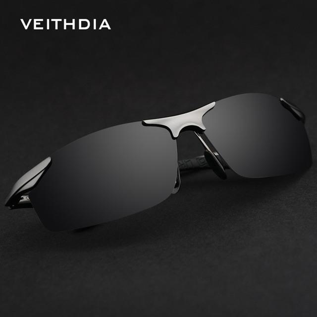 Liga de Óculos De Sol Dos Homens Polarizados VEITHDIA New Original Famosa Marca Óculos de Desporto Óculos de Segurança UV400 Masculino Escuro Grande Rond