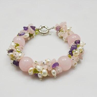 Камень ожерелье браслет, розовый оливин жемчуг смешивается болтаются, ручной работы идеальный драгоценный камень ювелирные изделия - Окраска металла: Necklace