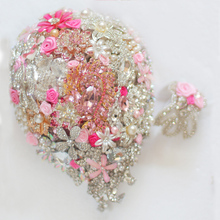 Bride Drop Brooch bouquet custom made Wedding Pink & deep pink Jewelry Bride 's bridal bouquets gift Wrist flower