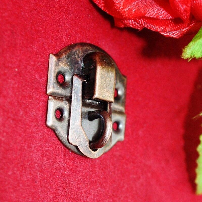 4Pcs 27*29mm,Bronze Vintage Iron Jewelry Box Padlock Hasp Locked Wooden Wine Gift Box Handbag Buckle Hardware Accessories