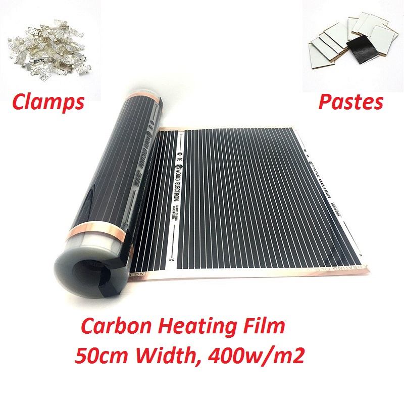 New Type Carbon 400w/m2 Infared Underfloor Heating Film Kits 220V~240V Warm Floor Mat With Clamps Insulation Pastes