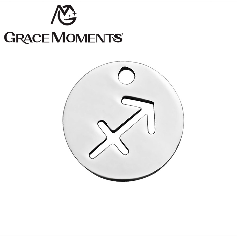 Grace Moments 20pcs/lot Diameter 12mm Round Zodiac Signs Charm 316L Stainless Steel Constellation Charm for Making DIY Jewelry