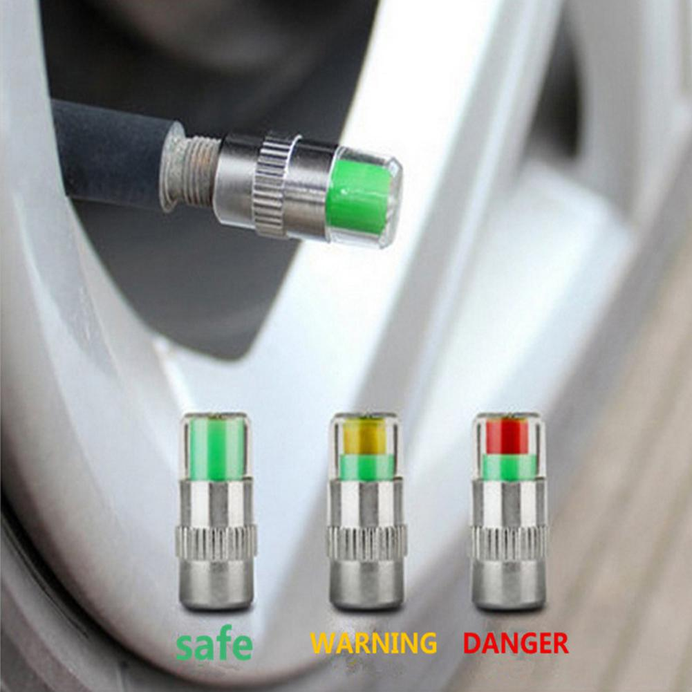 Adeeing 4 Pcs 2.4 Bar Car Tire Pressure Monitoring Valve Cap Sensor Indicator 3 Color Eye Alert Monitoring Tire Pressure R20