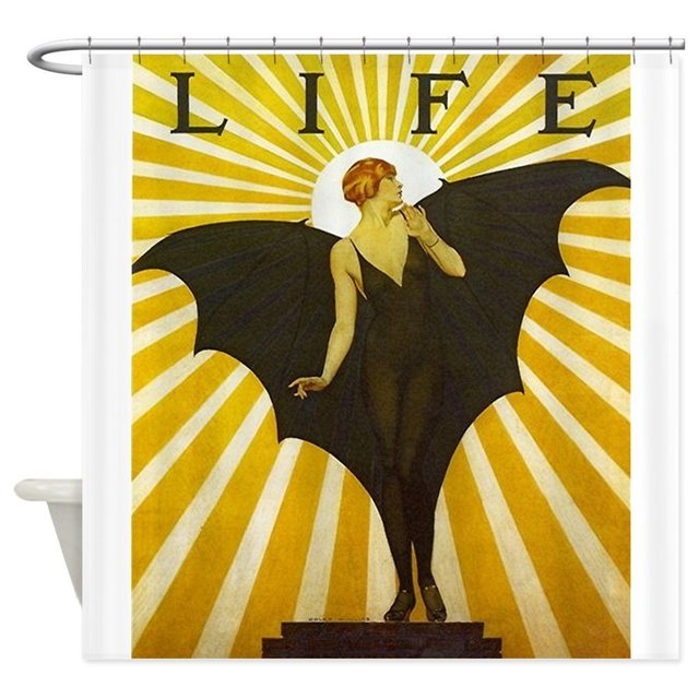 Art Deco Bat Lady Pin Up Fler Decorative Fabric Shower Curtain Bath Products Bathroom Decor With Hooks Waterproof