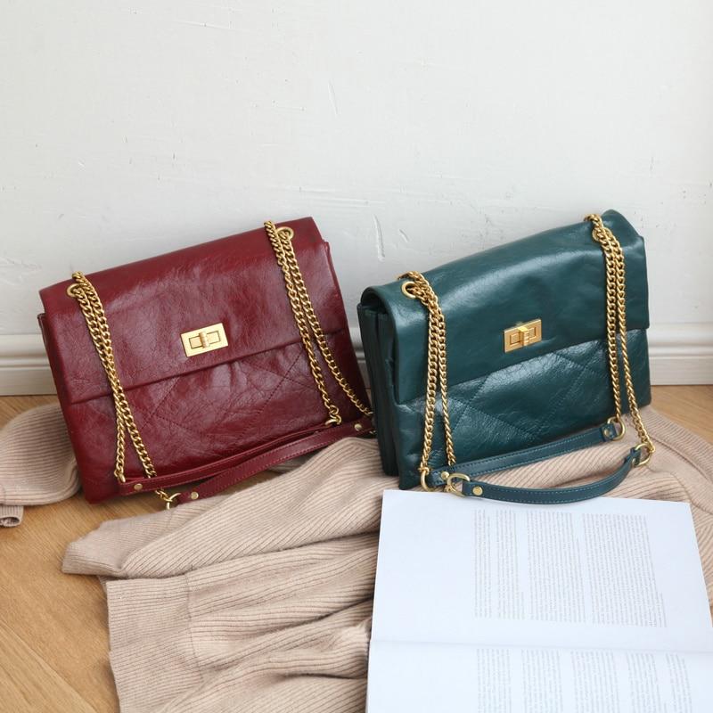 2019 mode Euramerican enveloppe sacs pour femmes cire huile peau chaîne en cuir véritable épaule sac à bandoulière femme messenger sacs-in Sacs à bandoulière from Baggages et sacs    2