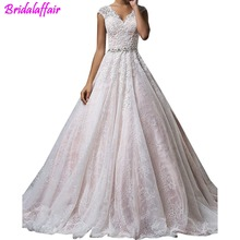 цена на Women's V Neck A Line Lace Applique Cap Sleeve Sheer Back Bridal Dress wedding dress 2018 plus size wedding gowns for bride