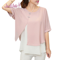 JasWell New Fashion Summer Loose Casual Women Chiffon Blouses Shirt Batwing Sleeve Two Layer Ladies Tops