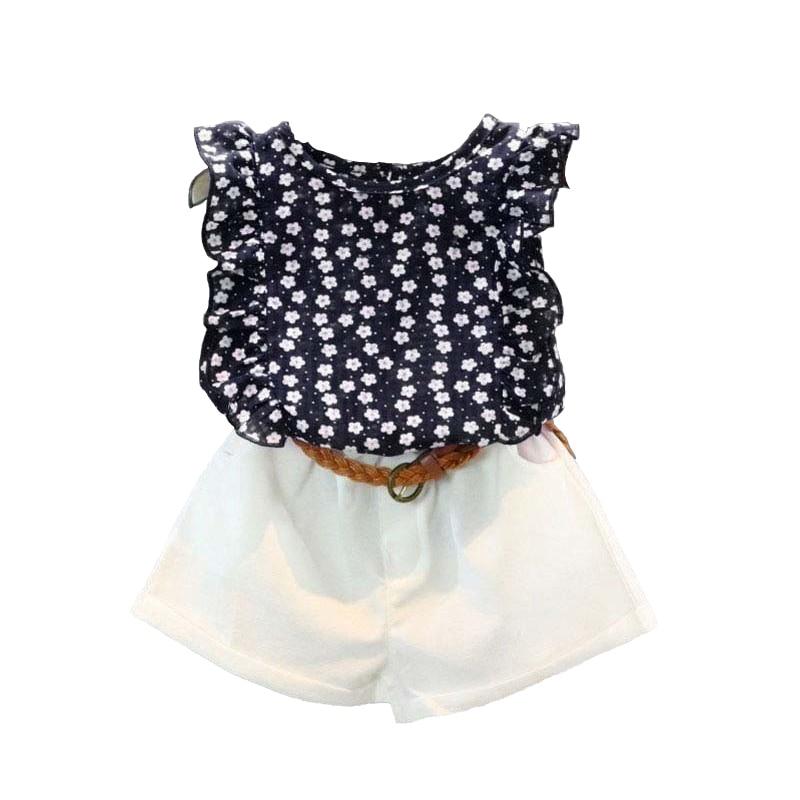 Toddler Kids Baby Girls Clothes Sets Floral Chiffon Polka Dot Sleeveless T-shirt Tops+Shorts Outfits 2 pcs Sets