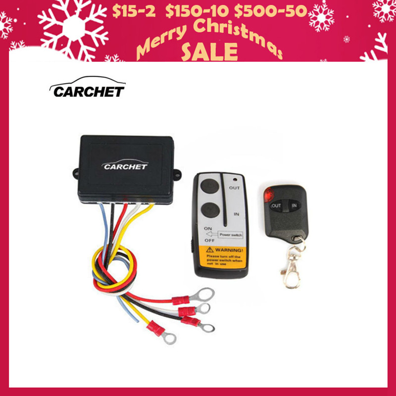 CARCHET 12 V-24 V 50ft Pintar Winch Wireless Remote Control Beralih Set E Universal lampu indikator Untuk Jeep Truk ATV PROMOTION2019
