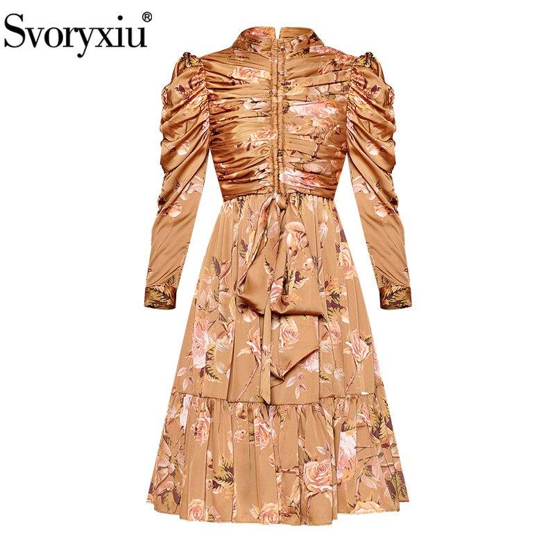 Svoryxiu Designer Vintage ชุดฤดูใบไม้ร่วงของผู้หญิง Elegant Stand Collar พัฟแขนเสื้อดอกไม้พิมพ์พับโบว์ชุด Vestdios-ใน ชุดเดรส จาก เสื้อผ้าสตรี บน   1