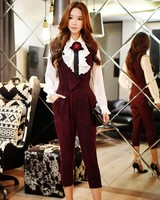 Dabuwawa Burgundy Fashion Overalls Korean Elegant Ladies High Waist Women Trousers Autumn Vintage Silm Casual Pants #D16CRT023
