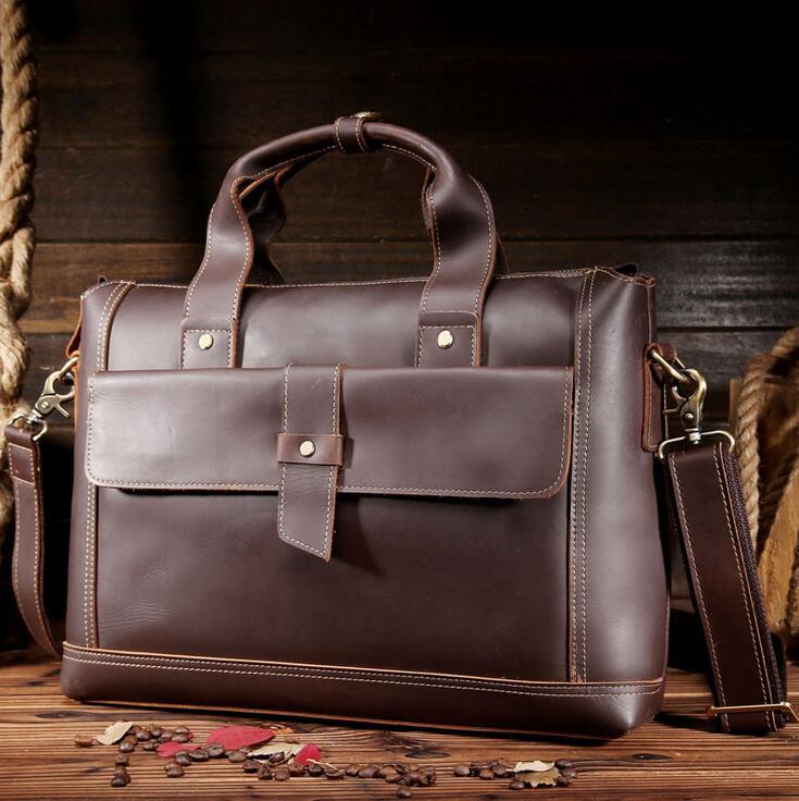 ФОТО Crazy horse leather Men Bags layer cowhide shoulder bags laptop leather handbag