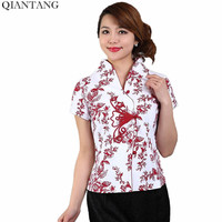Hot Sale Red Traditional Chinese Style Blouse Women Cotton Shirt Top V Neck Short Sleeves Clothing