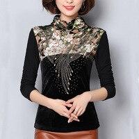 Plus Size 4XL Blouses Women Tops 2017 Autumn Winter Warm Elegant Beading Women Blouse Shirt Thick
