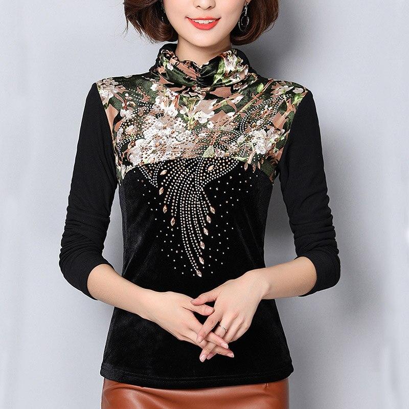 Plus Size 4XL   Blouses   Women Tops 2019 Autumn Winter Warm Elegant beading Women   blouse     Shirt   thick plus velvet blusas mujer