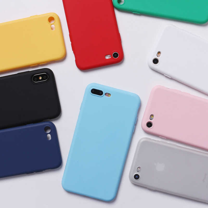 Funda de silicona lisa de caramelo mate, sencilla, suave, fina, Capa, carcasa trasera 11 para iPhone 7Plus 7 6S 5S 8 8Plus X XS Max