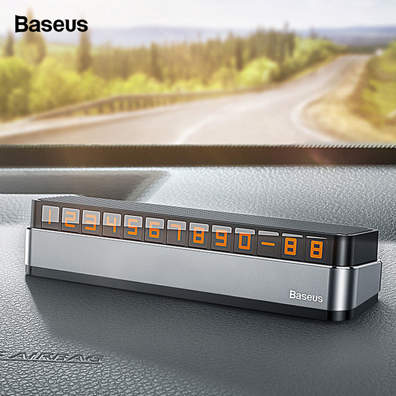 Baseus Car Temporary Parking Card Phone Number Car Phone Holder Luminous Telephone Number Plate Car Park Car-styling Accessories