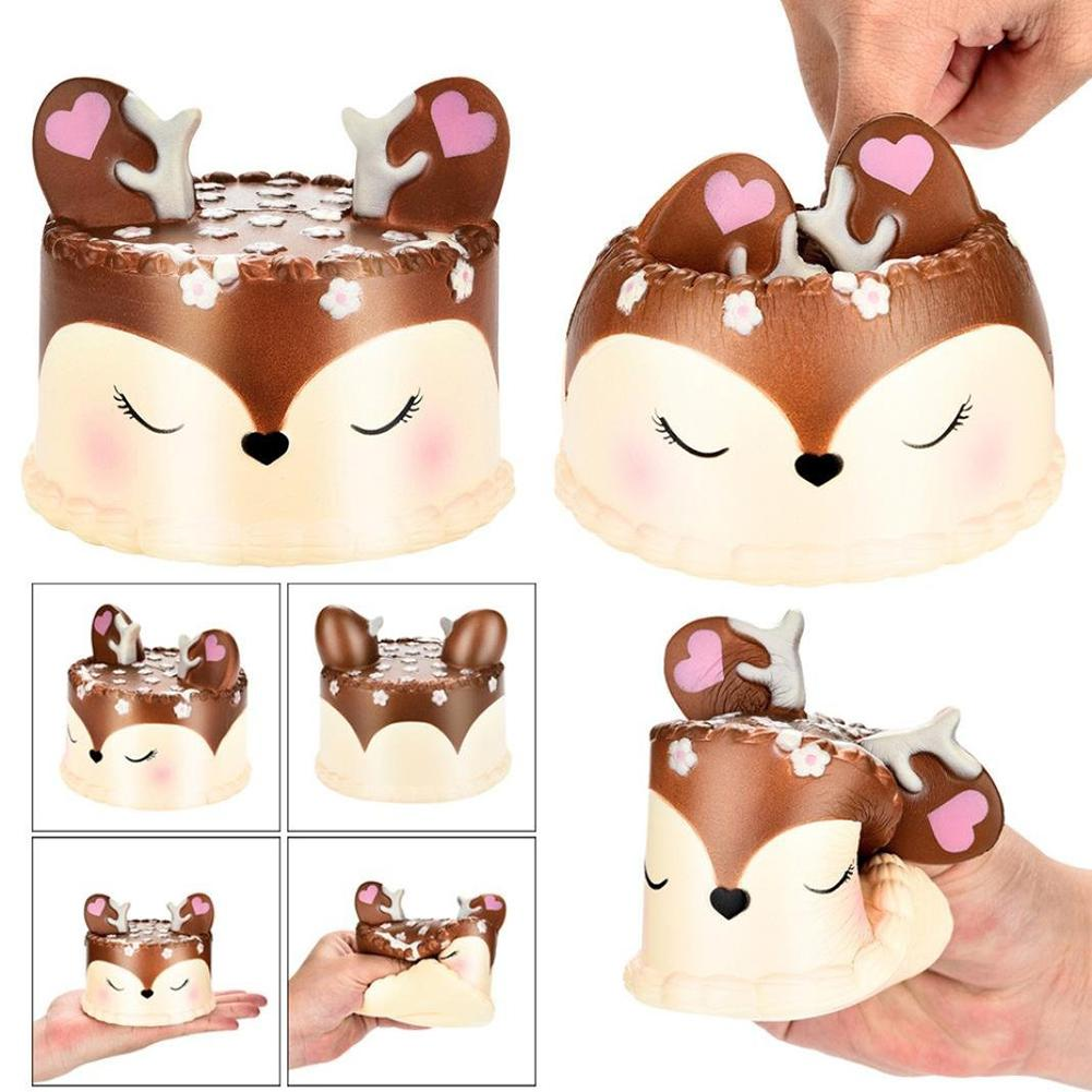 New Lovely Shy Deer Cake Soft Squishy Slow Rising Toy Stress Relief Kid Adult Gift