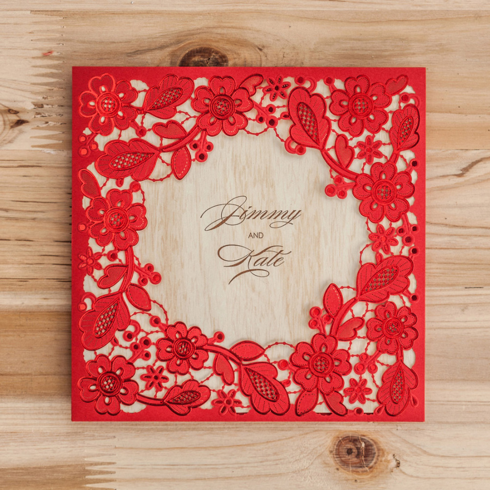 Wishmade Laser Cut Embossed Red Gold White Lace Wedding Invitations ...