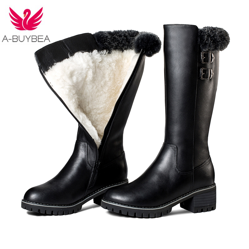 2017 New fashion genuine leather women shoes winter keep warm knee high boots casual shoes black zipper fur snow boots platform whensinger 2017 new women fashion boots genuine leather fashion shoes rubber sole hands sewing 2 color 7126