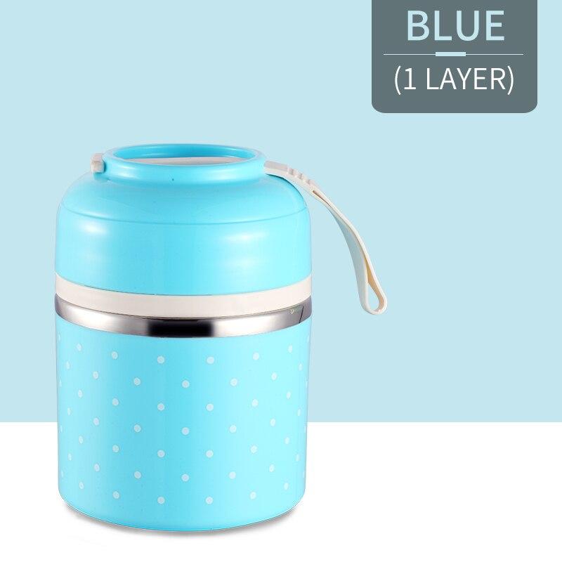 Милые детские Термальность Коробки для обедов герметичность Нержавеющая сталь Bento box для детей Портативный Пикник школа Еда контейнер Box - Цвет: Blue 1 Layer