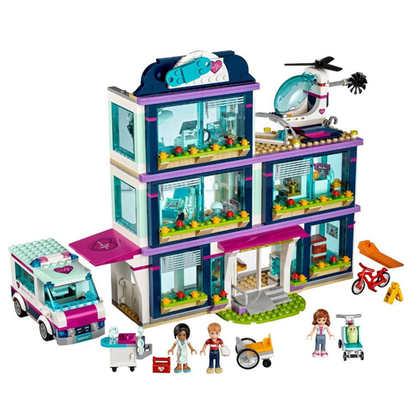 01039 Friends Girl Series 932pcs Building Blocks toys Heartlake Hospital kids Bricks toy girl gifts Compatible Legoingly 41318 651pcs diy friends girl series building blocks sunshine catamaran kids bricks toys for children gifts compatible with legoingly