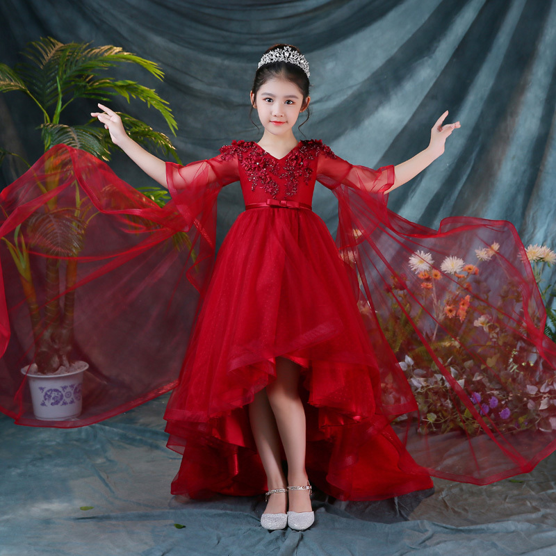 Vin rouge fleur fille robes de mariage longue traînée Flare manches Appliques robes de soirée v-cou enfants Pageant robe robes de fête