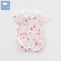 DBM7508 dave bella summer baby girls new born cotton romper infant clothes cute children romper baby 1 piece