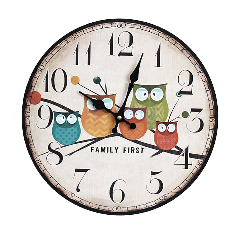 DIY Wooden Wall Clock Home Decor Large Electronic Clock 5 Owl Pattern Plastic Cover Craft Gadgets Reloj Saat Wall Clock Wandklok