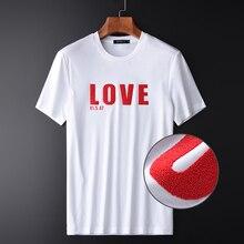 Minglu Bianco Mens T Shirt di Lusso 100% Cotone Mercerizzato Grano Stampa Uomo T Shirt Più Il Formato 4xl Estate Slim Fit Uomo T Shirt