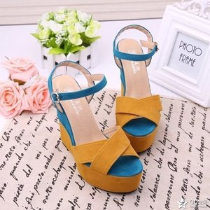 Image 4 - Ankle Strap Front Rear Strap High Summer Wedges Heels Sandals Buckle Solid Women Shoes Fashion Platform Sandals