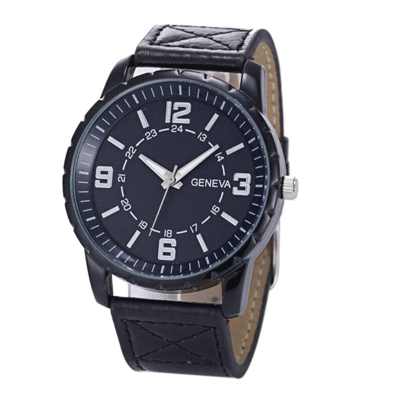 Мужчины часы 2017 мужской relogio часы Женева мужская Люкс лучшие уникальный Бизнес Часы Кожаный Ремешок Кварцевые Наручные Часы 170328