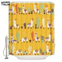 WARMTOUR Shower Curtain Lovely Cactus Lama Extra Long Fabric Bath Shower Curtains Mildew resistant Bathroom Decor with Hooks