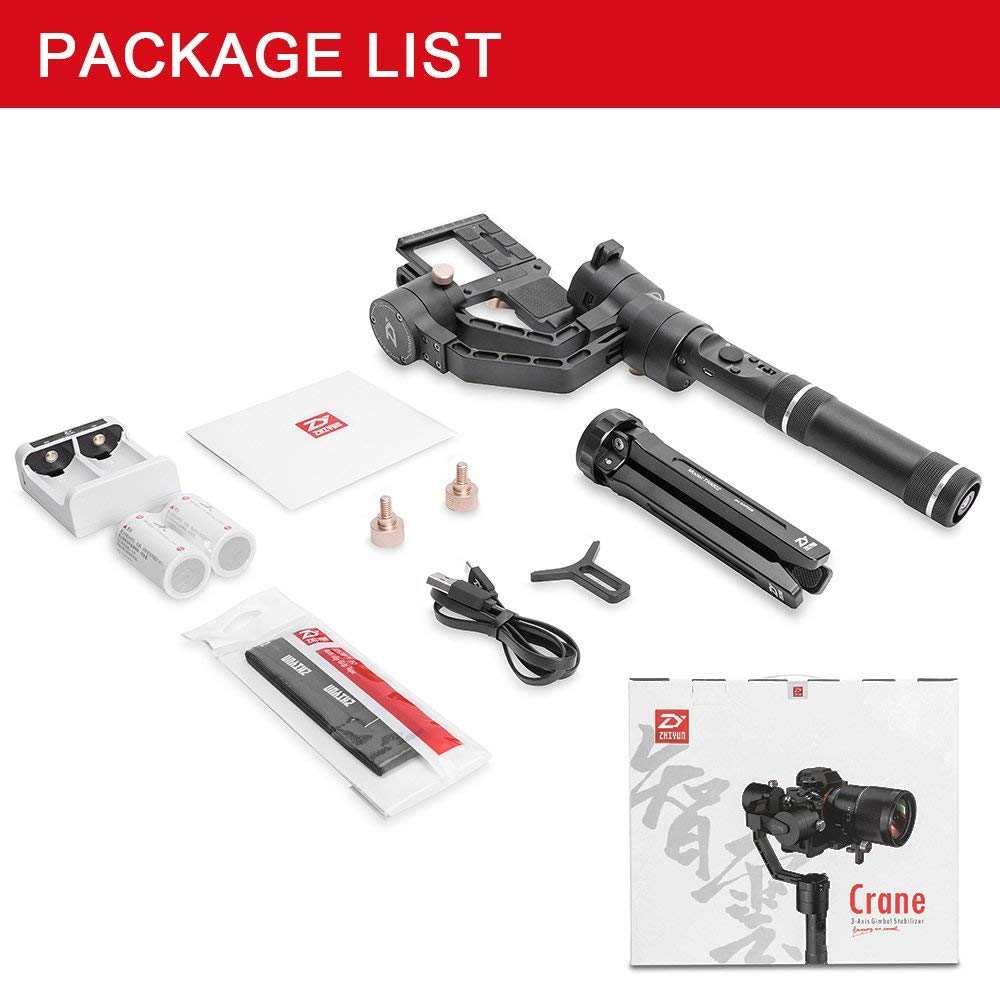 Zhiyun Crane Plus 3 Axis Handheld Gimbal for aSony Canon DSLR Mirrorless Camera 5.5lb Payload Timelapse Object Track FPV POV Mode2112